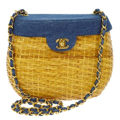 CHANEL CC Logos Chain Basket Shoulder Bag Blue Straw Denim