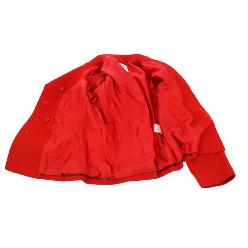 CHANEL CC Logos Long Sleeve Setup Jacket Skirt #38 Red 98A