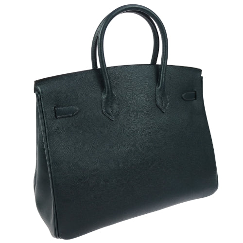 HERMES BIRKIN 35 Hand Bag Couchevel Navy