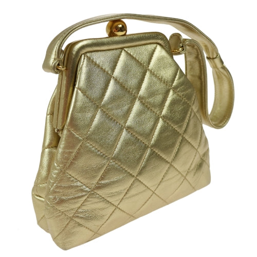 CHANEL CC Logos Quilted Hand Bag Gold Leather
