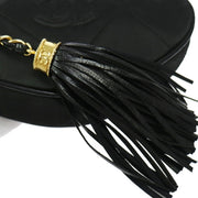 CHANEL Quilted Zipper Pouch Fringe Black Satin Leather