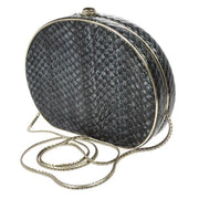 GUCCI Chain Shoulder Bag Gray Python Leather