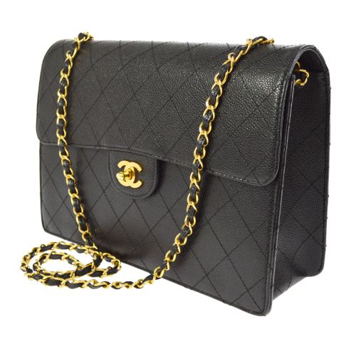 CHANEL Quilted Classic Flap Jumbo Shoulder Bag Black Caviar