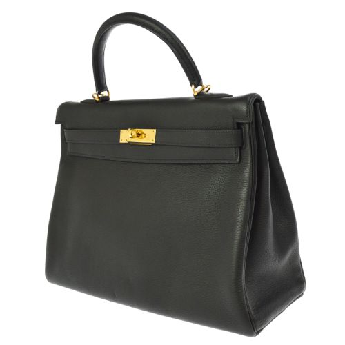 HERMES KELLY 35 2way Hand Bag Black Vache Liege