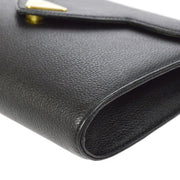 Yves Saint Laurent Logos Clutch Bag Black Leather