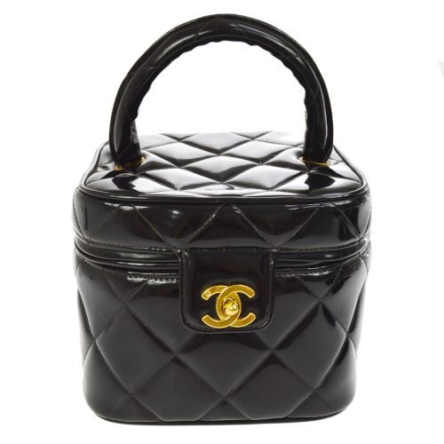 CHANEL Quilted CC Cosmetic Hand Bag Vanity Black Patent Leather