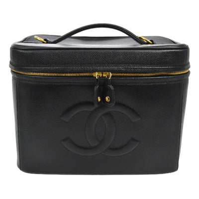 CHANEL CC 2way Cosmetic Hand Bag Box Black Caviar Skin