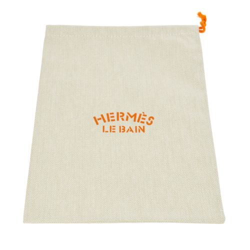 HERMES LE BAIN Drawstring Pouch Ivory Cotton Leather