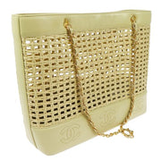 CHANEL CC Logos Straw Basket Chain Shoulder Bag Beige