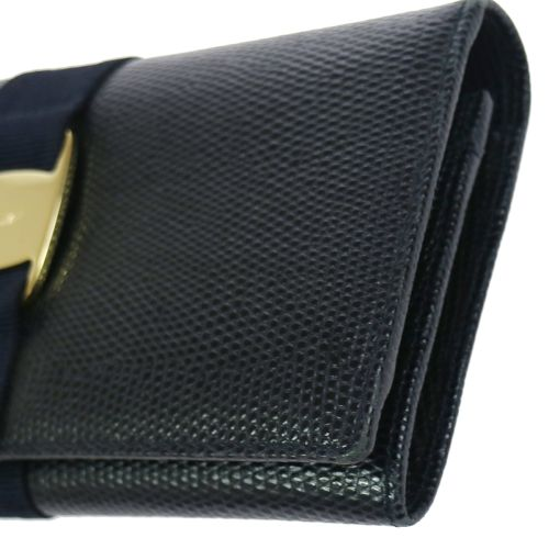 Salvatore Ferragamo Vara Bifold Long Wallet Navy