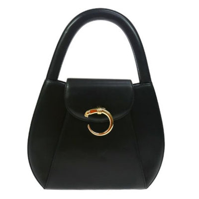 Cartier Panther Logos Hand Bag Black Leather