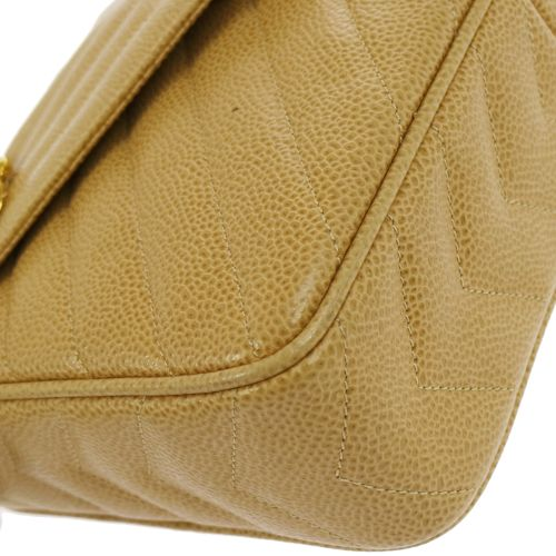 CHANEL V Stitches Quilted Chain Shoulder Bag Beige Caviar Skin
