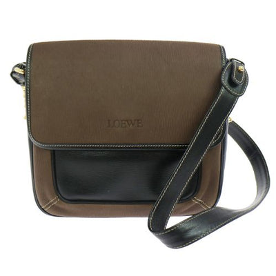 LOEWE Combi Leather Shoulder Bag Black Brown