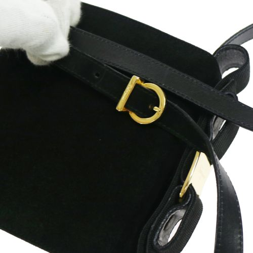 Salvatore Ferragamo Vara Bow 2way Hand Bag Black Suede