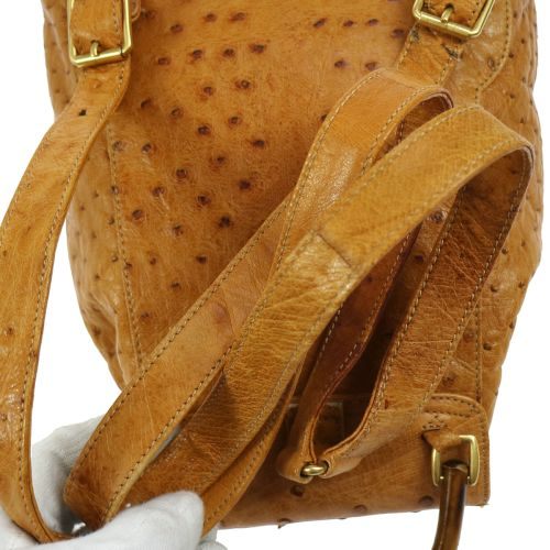 GUCCI Bamboo Line Backpack Brown Ostrich Skin