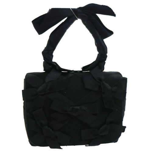 CHANEL Party Hand Bag with Ribbon Black Satin