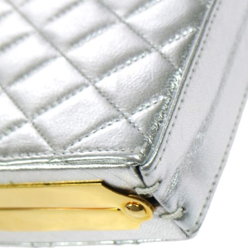 CHANEL Quilted Chain Shoulder Pochette Bag Silver