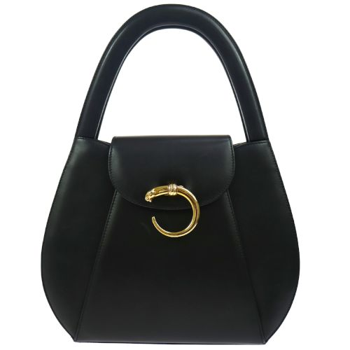 must de Cartier Panther Logos Hand Bag Black