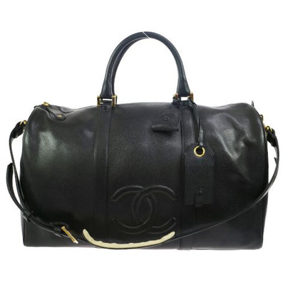 CHANEL CC Logos 2way Travel Hand Bag Black Caviar Skin