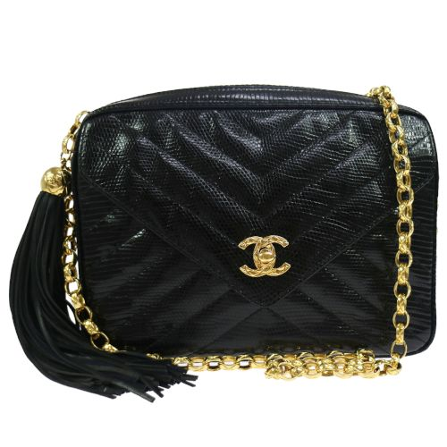CHANEL V Stitches Quilted Chain Shoulder Bag Black Lizard Skin
