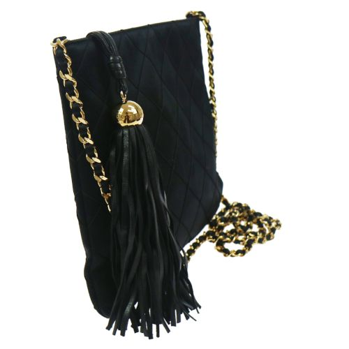 CHANEL Cosmos Line Quilted Chain Shoulder Bag Black Satin