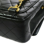 CHANEL Quilted Backpack Black Leather