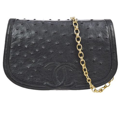 CHANEL CC Chain Shoulder Bag Black Ostrich Leather