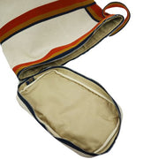 HERMES Large Shoulder Bag Toile H Ocher Orange Navy
