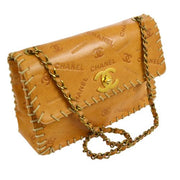 CHANEL Classic Flap Maxi Shoulder Bag Camel Leather