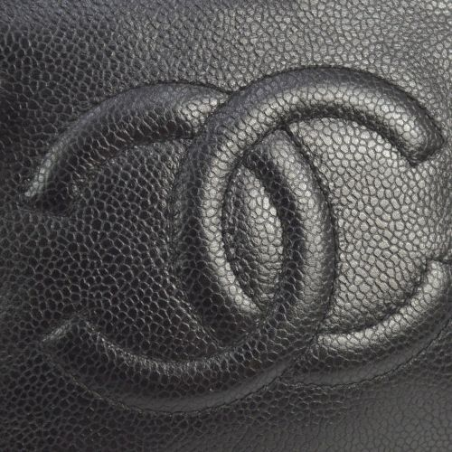 CHANEL Quilted CC Logos Bum Bag Black Caviar Skin Leather