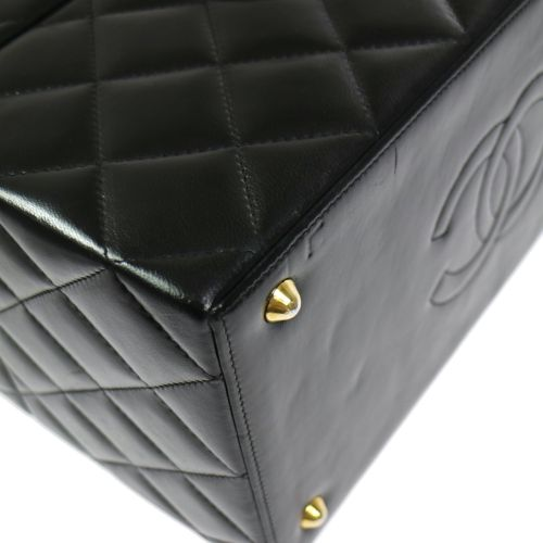 CHANEL Quilted Cosmetic Hand Bag Black