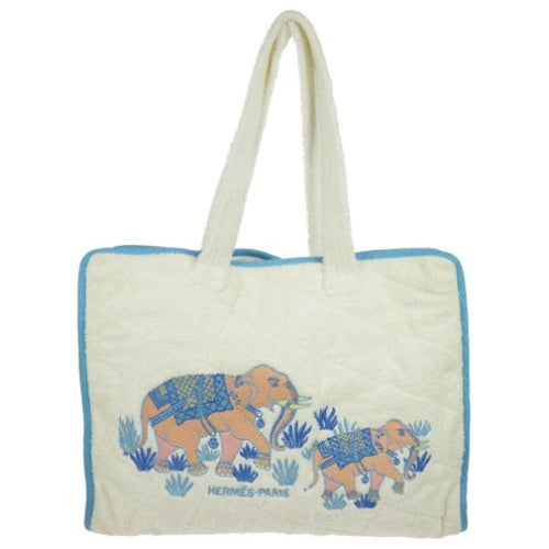 HERMES Elephant Embroidery Shoulder Tote Bag White Toweling