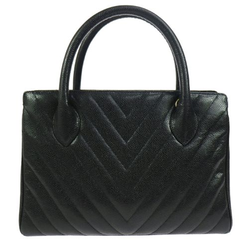 CHANEL V Stitches Quilted Hand Bag Black Caviar Skin