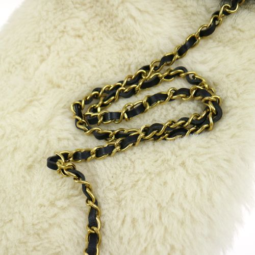 CHANEL Logos Hand Warmer with Chain Strap Mouton White