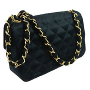 CHANEL Quilted Chain Shoulder Bag Black Satin
