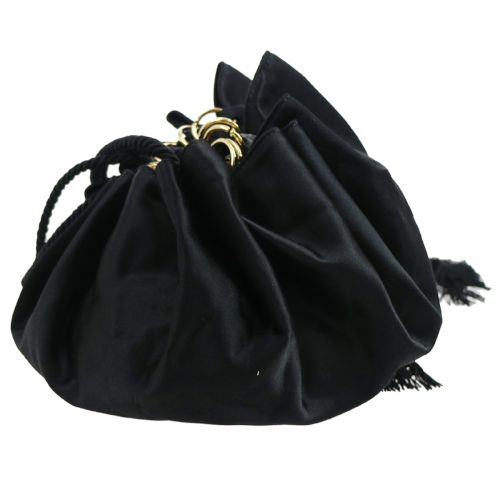 PRADA Drawstring Shoulder Bag Black Satin