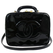 CHANEL CC Logos Cosmetic Hand Bag Black Patent Leather