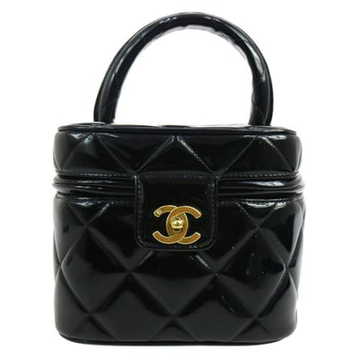 CHANEL Quilted Cosmetic Hand Bag Black Patent Leather