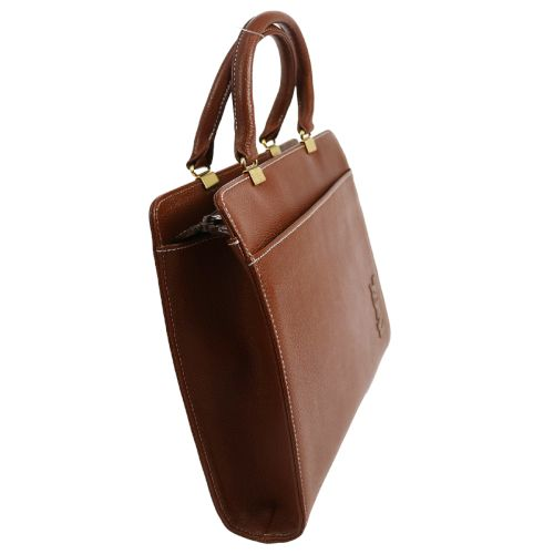YVES SAINT LAURENT Logos Hand Bag Brown Leather