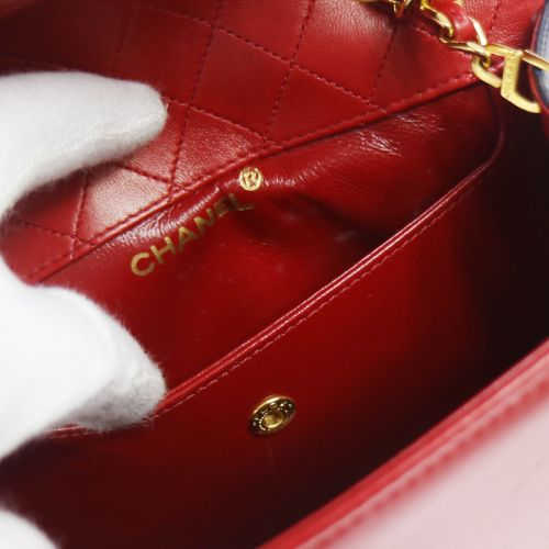 CHANEL Quilted Chain Shoulder Bag Red Navy Leather