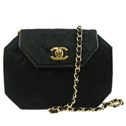 CHANEL Quilted Chain Shoulder Bag Black Satin Leather