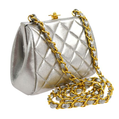 CHANEL Quilted CC Single Chain Shoulder Bag Silver Leather
