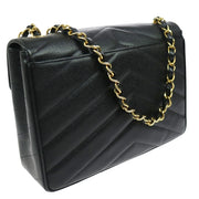 CHANEL V Stitches Classic Flap Jumbo Shoulder Bag Black Caviar