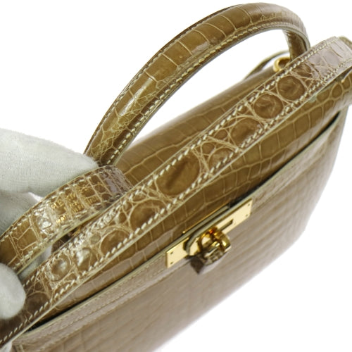 HERMES KELLY 32 SELLIER 2way Hand Bag Beige Porosus Crocodile
