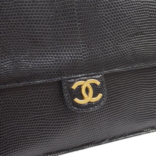 CHANEL Classic Single Flap Medium Shoulder Bag Black Lizard