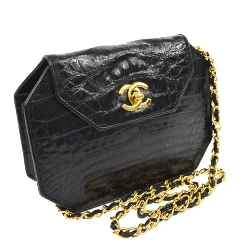 CHANEL CC Logos Single Chain Shoulder Bag Black Crocodile Skin