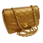 CHANEL Quilted CC Logos Single Chain Shoulder Bag Bronze Leather