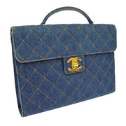 CHANEL Quilted CC Logos Business Hand Bag Indigo Denim