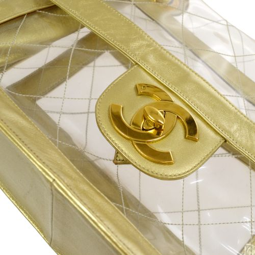 CHANEL Quilted Classic Flap Maxi Shoulder Bag Clear Gold Vinyl