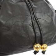 CHANEL CC Logos Drawstring Chain Backpack Bag Black Leather